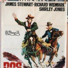 Cine: DOS CABALGAN JUNTOS. JAMES STEWART-RICHARD WIDMARK. CARTEL ORIGINAL 1962. 70X100. Lote 160620398