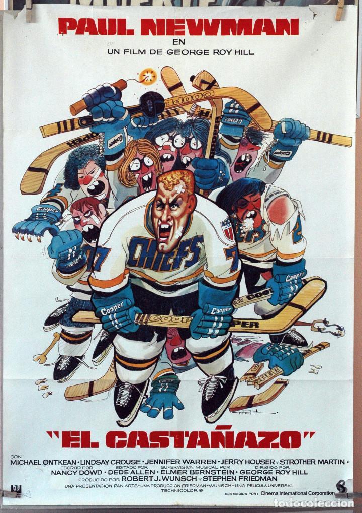 EL CASTAÑAZO. PAUL NEWMAN. CARTEL ORIGINAL 1977. 70X100 (Cine - Posters y Carteles - Deportes)