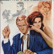 Cine: EL REY DEL JUEGO. STEVE MACQUEEN-EDWARD G. ROBINSON-KARL MALDEN. CARTEL ORIGINAL 1965. 70X100. Lote 160659478