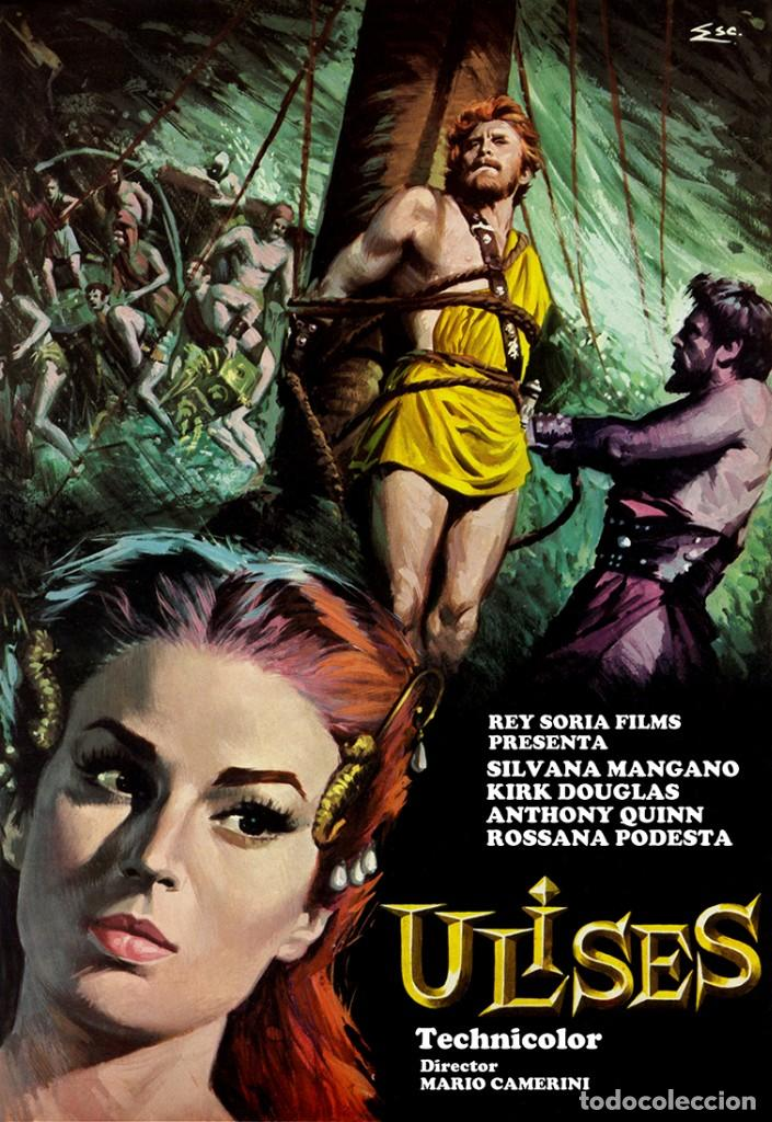 ULISES CARTEL EN LIENZO IMPRESIONANTE CALIDAD MEDIDAS 57X40 KIRK DOUGLAS (Cine - Posters y Carteles - Aventura)