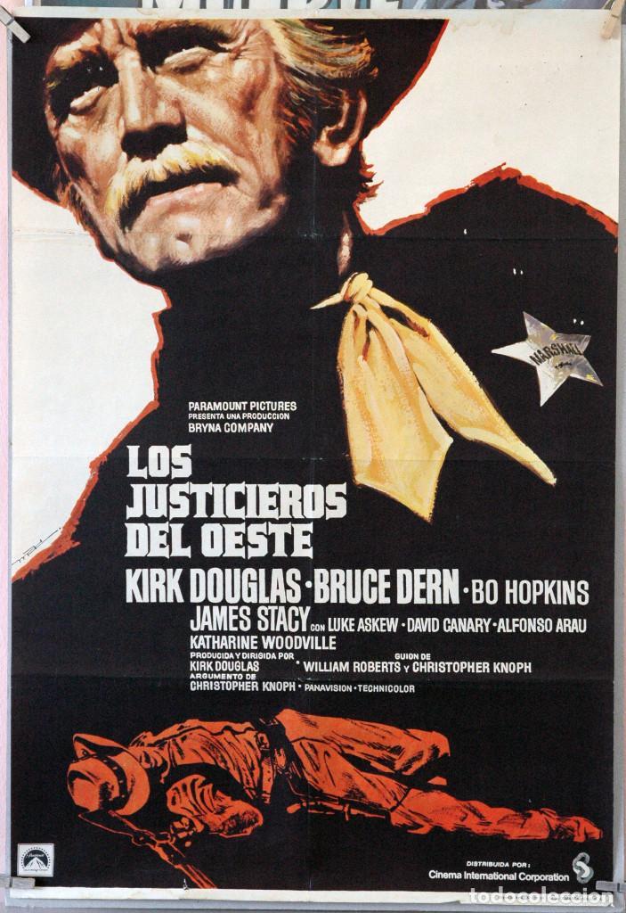 LOS JUSTICIEROS DEL OESTE. KIRK DOUGLAS-BRUCE DERN. CARTEL ORIGINAL 1975. 100X70 (Cine - Posters y Carteles - Westerns)