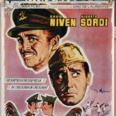 Cine: SU MEJOR ENEMIGO. DAVID NIVEN-ALBERTO SORDI. CARTEL ORIGINAL 1962. 100X70. Lote 160713990