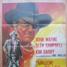 Cine: CARTEL CINE, VALOR DE LEY, JOHN WAYNE, GLEN CAMPBELL, 1969, ROFER, C1564. Lote 160971286