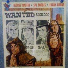 Cine: 3 SUPERHOMBRES EN EL OESTE. GEORGE MARTIN, SALVATORE BORGHESE, FRANK BRAÑA AÑO 1973. POSTER ORIGINAL. Lote 161090370