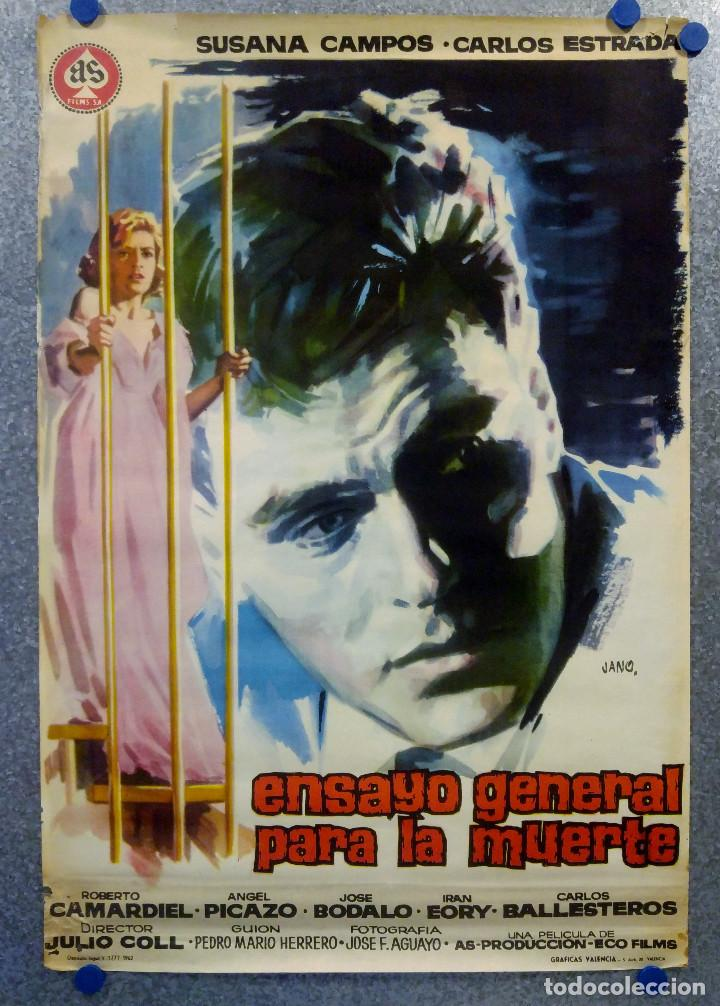 ENSAYO GENERAL PARA LA MUERTE. SUSANA CAMPOS, CARLOS ESTRADA. AÑO 1962. POSTER ORIGINAL (Cine - Posters y Carteles - Suspense)