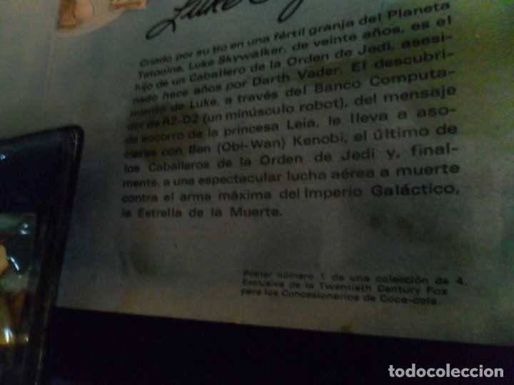Cine: STAR WARS LA GUERRA DE LAS GALAXIAS CARTEL COCA COLA ESPAÑA NºS 1 2 3. AÑO 1977. 61X43 CMS. RAROS. - Foto 5 - 161731362