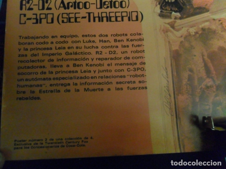 Cine: STAR WARS LA GUERRA DE LAS GALAXIAS CARTEL COCA COLA ESPAÑA NºS 1 2 3. AÑO 1977. 61X43 CMS. RAROS. - Foto 6 - 161731362