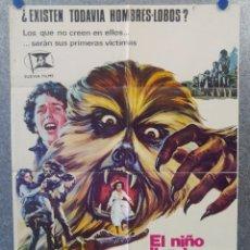 Cine: EL NIÑO QUE LLORABA AL HOMBRE LOBO. KERWIN MATHEWS, ELAINE DEVRY . AÑO 1974. POSTER ORIGINAL . Lote 161923638