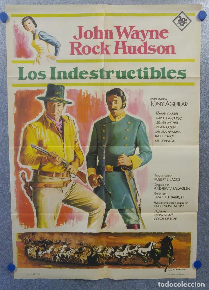 LOS INDESTRUCTIBLES. JOHN WAYNE, ROCK HUDSON . AÑO 1969. POSTER ORIGINAL (Cine - Posters y Carteles - Westerns)