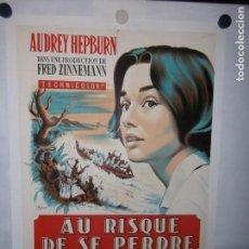 Cine: AU RISQUE DE SE PERDRE (HISTORIA DE UNA MONJA) - FRANCÉS - 78 X 60CM - 1958 - LITO - ENTELADO. Lote 162137142