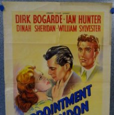 Cine: APPOINTMENT IN LONDON. DIRK BOGARDE, IAN HUNTER, DINAH SHERIDAN. LITOGRAFIA. POSTER ORIGINAL INGLES. Lote 162289834
