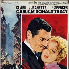Cine: SAN FRANCISCO. CLARK GABLE-SPENCER TRACY-JEANETTE MACDONALD. CARTEL ORIGINAL 1980. 70X100. Lote 162446346