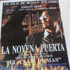 Cine: LA NOVENA PUERTA - POSTER CARTEL ORIGINAL ROMAN POLANSKI PEREZ REVERTE JOHNNY DEEP JACK TAYLOR. Lote 162946254