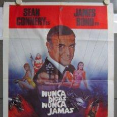 Cine: ZO25D NUNCA DIGAS NUNCA JAMAS JAMES BOND 007 SEAN CONNERY POSTER ORIGINAL 70X100 ESTRENO. Lote 163945338