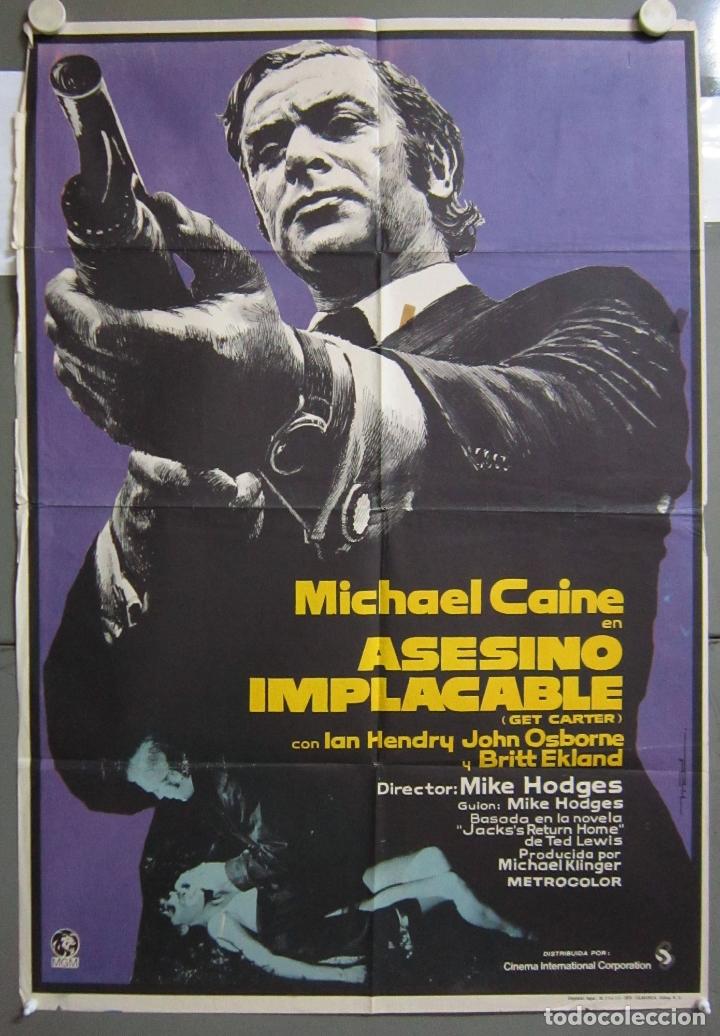 ZO31 ASESINO IMPLACABLE GET CARTER MICHAEL CAINE POSTER ORIGINAL 70X100 DEL ESTRENO (Cine - Posters y Carteles - Suspense)