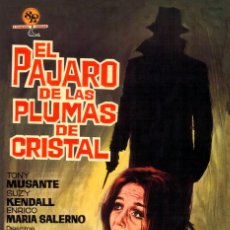 Cine: EL PÁJARO DE LAS PLUMAS DE CRISTAL CARTEL EN LIENZO INMEJORABLE CALIDAD MEDIDAS 57X40 DARIO ARGENTO. Lote 164826542