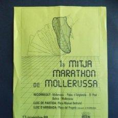 Cine: CARTEL 44X28 CM - MOLLERUSSA - PRIMERA MITJA MARATHON - 13 NOVEMBRE 1988 ... A1543. Lote 164889842