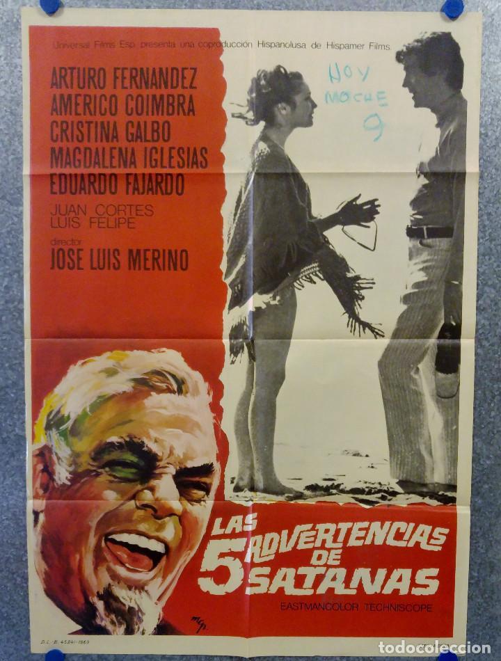LAS CINCO ADVERTENCIAS DE SATANÁS. ARTURO FERNÁNDEZ, CRISTINA GALBÓ, AMÉRI AÑO 1969. POSTER ORIGINAL (Cine - Posters y Carteles - Terror)