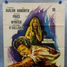 Cine: CRIMENES EN LA OSCURIDAD. FRANKIE AVALON, DENNIS PRICE. AÑO 1970 POSTER ORIGINAL. Lote 165060958