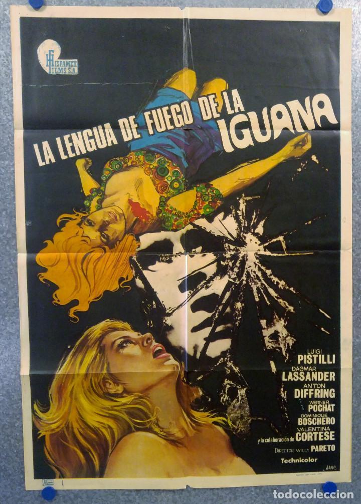 LA LENGUA DE FUEGO DE LA IGUANA. LUIGI PISTILLI, DAGMAR LASSANDER AÑO 1973 POSTER ORIGINAL (Cine - Posters y Carteles - Terror)