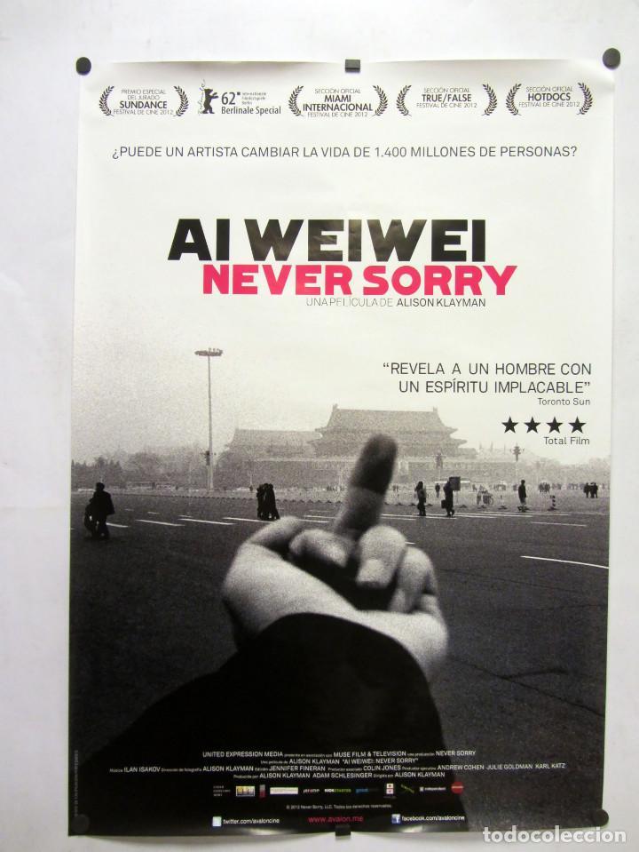 AI WEIWEI NEVER SORRY. CARTEL PROMOCIONAL DE LA PELÍCULA DOCUMENTAL SOBRE EL ARTISTA CHINO (Cine - Posters y Carteles - Documentales)
