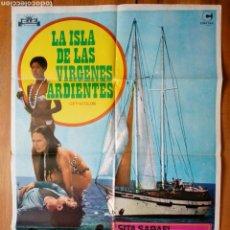 Cine: CARTEL ORIGINAL DE CINE (1977): LA ISLA DE LAS VIRGENES ARDIENTES (M.I. BONNS) . Lote 165617282