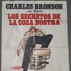 Cine: CARTEL GRAN FORMATO 'LOS SECRETOS DE LA COSA NOSTRA'. CHARLES BRONSON. TERENCE YOUNG. BARCELONA. . Lote 165964222
