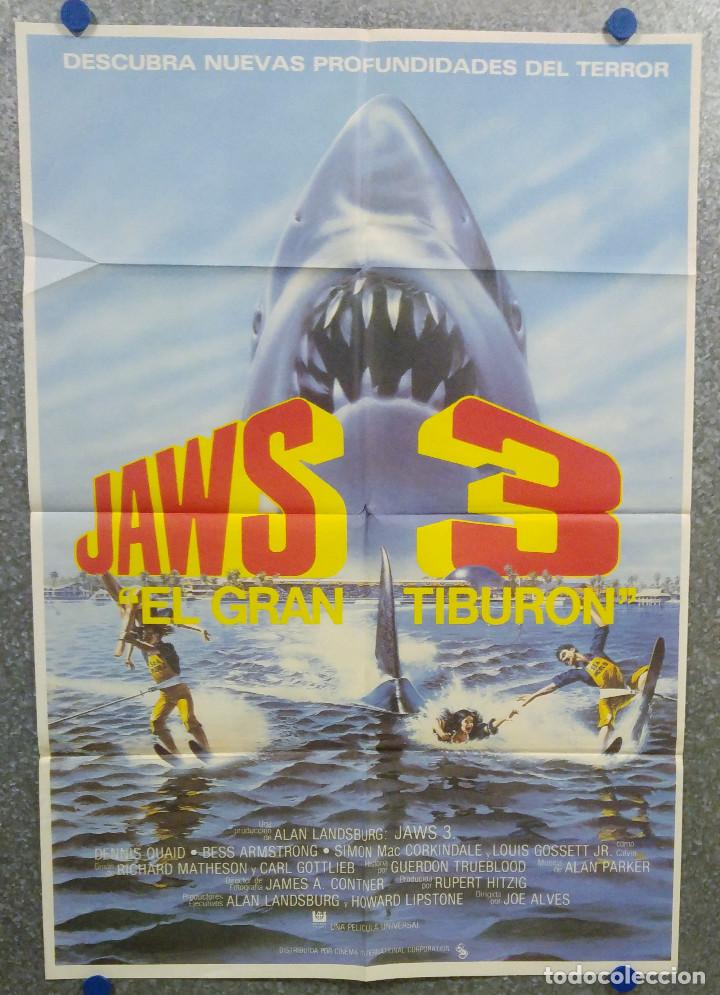 JAWS 3, EL GRAN TIBURON - DENNIS QUAID, BESS ARMSTRONG, SIMON MAC CORKINDALE. POSTER ORIGINAL (Cine - Posters y Carteles - Terror)