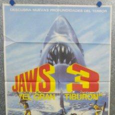 Cine: JAWS 3, EL GRAN TIBURON - DENNIS QUAID, BESS ARMSTRONG, SIMON MAC CORKINDALE. POSTER ORIGINAL. Lote 179582226