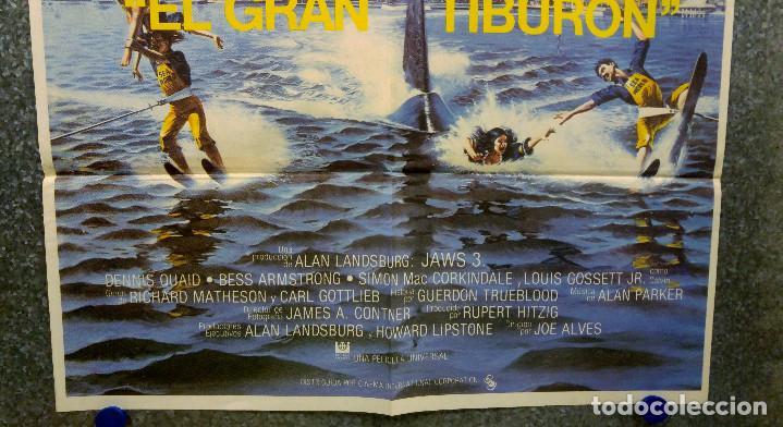 Cine: JAWS 3, EL GRAN TIBURON - DENNIS QUAID, BESS ARMSTRONG, SIMON Mac CORKINDALE. POSTER ORIGINAL - Foto 3 - 165988190