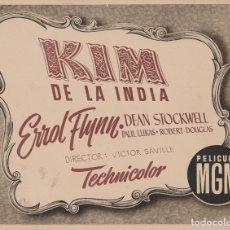 Cine: CARTEL PUBLICITARIO KIM DE LA INDIA - ERROL FLYNN - MGM - 24X19). Lote 165991130