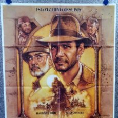 Cine: INDIANA JONES Y LA ÚLTIMA CRUZADA. HARRISON FORD. AÑO 1989 - POSTER ORIGINAL. Lote 165998622