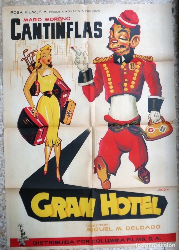 CARTEL POSTER CINE , GRAN HOTEL , CANTINFLAS , LITOGRAFIA , ALBERICIO ,ORIGINAL (Cine - Posters y Carteles - Comedia)