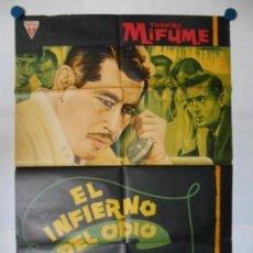 Cinema: EL INFIERNO DEL ODIO - CARTEL ORIGINAL - 70 X 100. Lote 166749188
