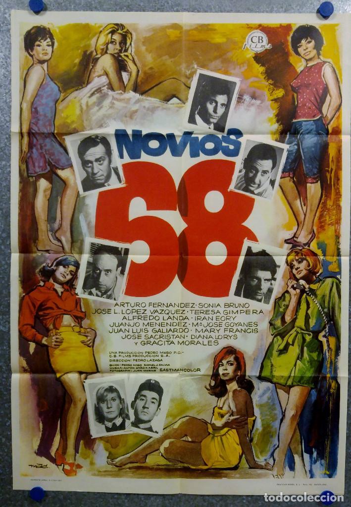 NOVIOS 68. ARTURO FERNÁNDEZ, SONIA BRUNO, JOSÉ LUIS LÓPEZ VÁZQUEZ AÑO 1967. POSTER ORIGINAL (Cine - Posters y Carteles - Clasico Español)
