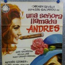 Cine: UNA SEÑORA LLAMADA ANDRÉS. CARMEN SEVILLA, JUAN LUÍS GALIARDO AÑO 1970. POSTER ORIGINAL. Lote 166822466