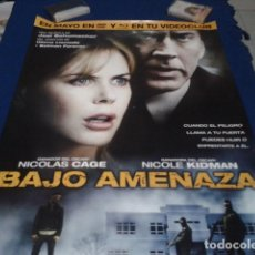 Cine: POSTER VIDEOCLUB ( BAJO AMENAZA ) SATURN FILMS DE 68 X 48- NICOLE KIDMAN - NICOLAS CAGE. Lote 167162448