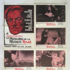 Cine: LA MASCARA DE LA MUERTE ROJA - POSTER CARTEL ORIGINAL + 6 FOTOCROMOS - EDGAR ALLAN POE VINCENT PRICE. Lote 181775016