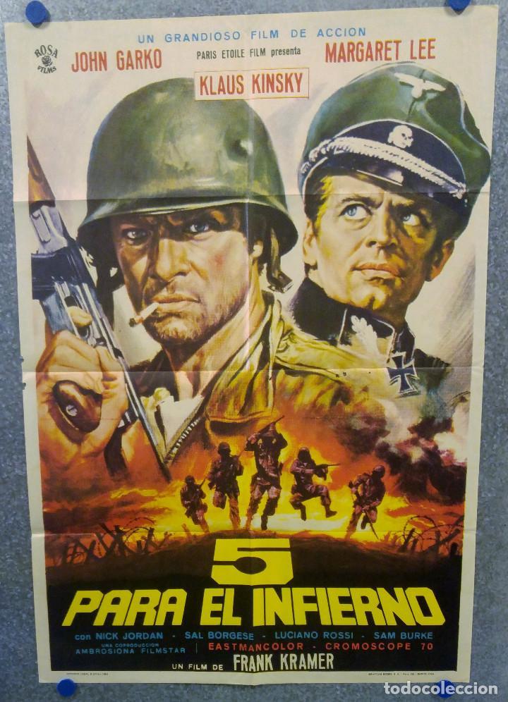 CINCO 5 PARA EL INFIERNO. GIANNI GARKO, KLAUS KINSKI, IRIO FANTINI AÑO 1969 POSTER ORIGINAL (Cine - Posters y Carteles - Bélicas)