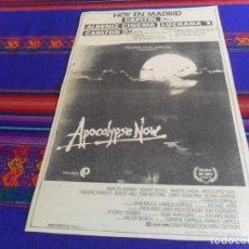 Cine: APOCALYPSE NOW, ANUNCIO EN PERIÓDICO DE MADRID DEL DÍA DEL ESTRENO. AÑO 1979. 39X25 CMS. BE. RARO.. Lote 167538884