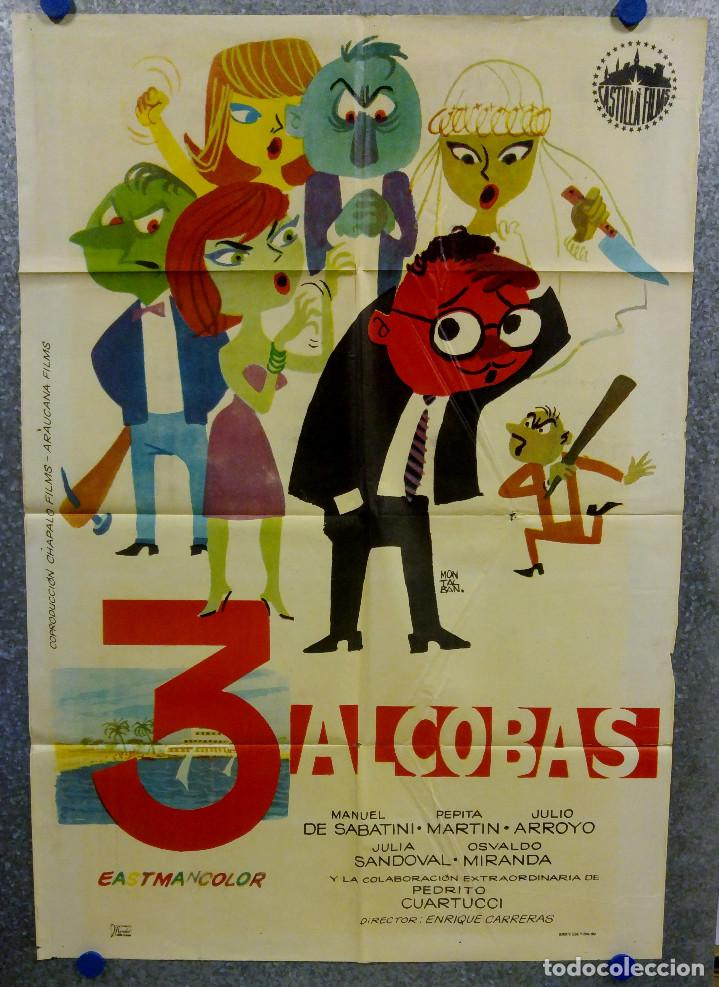 3 ALCOBAS. MANUEL SABATINI, PEPITA MARTIN, JULIO ARROYO. AÑO 1964. POSTER ORIGINAL (Cine - Posters y Carteles - Clasico Español)