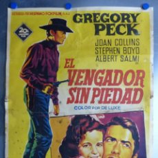Cine: EL VENGADOR SIN PIEDAD, GREGORY PECK, JOAN COLLINS, AÑO 1959, LITOGRAFIA, SOLIGO. Lote 168089848