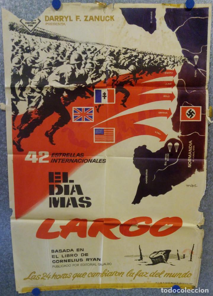 EL DIA MAS LARGO. JOHN WAYNE, HENRY FONDA, ROBERT MITCHUM. AÑO 1962. POSTER ORIGINAL (Cine - Posters y Carteles - Bélicas)