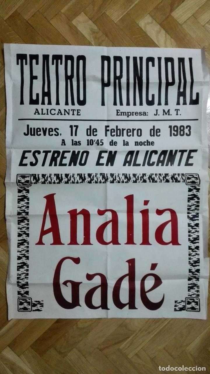 POSTER TEATRO PRINCIPAL CON ANALIA GADE, MEDIDAS 64 X 87 CM (Cine - Posters y Carteles - Clasico Español)