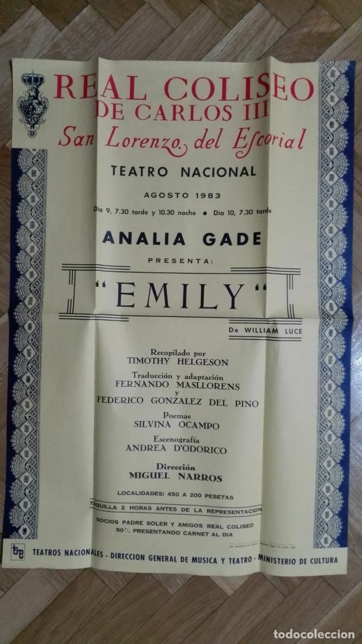 POSTER EMILY CON ANALIA GADE, TEATRO REAL COLISEO MEDIDAS 44 X 64 CM (Cine - Posters y Carteles - Clasico Español)