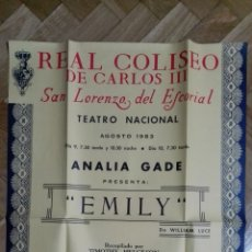 Cine: POSTER EMILY CON ANALIA GADE, TEATRO REAL COLISEO MEDIDAS 44 X 64 CM. Lote 169152748