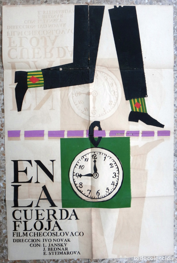 CARTEL POSTER CINE CUBANO, EN LA CUERDA FLOJA , CHECOSLOVAQUIA , CUBA , SERIGRAFIA ,ORIGINAL (Cine - Posters y Carteles - Suspense)