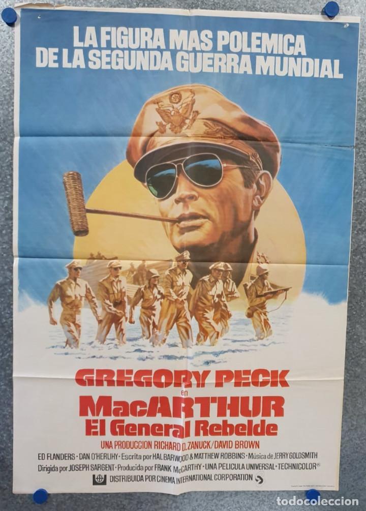 MACARTHUR, EL GENERAL REBELDE. GREGORY PECK, DAN O'HERLIHY. AÑO 1977. POSTER ORIGINAL (Cine - Posters y Carteles - Bélicas)