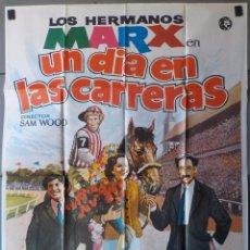 Cine: (N221) UN DIA EN LAS CARRERAS, HERMANOS MARX, CARTEL DE CINE ORIGINAL 100X70 CM APROX. Lote 243012125