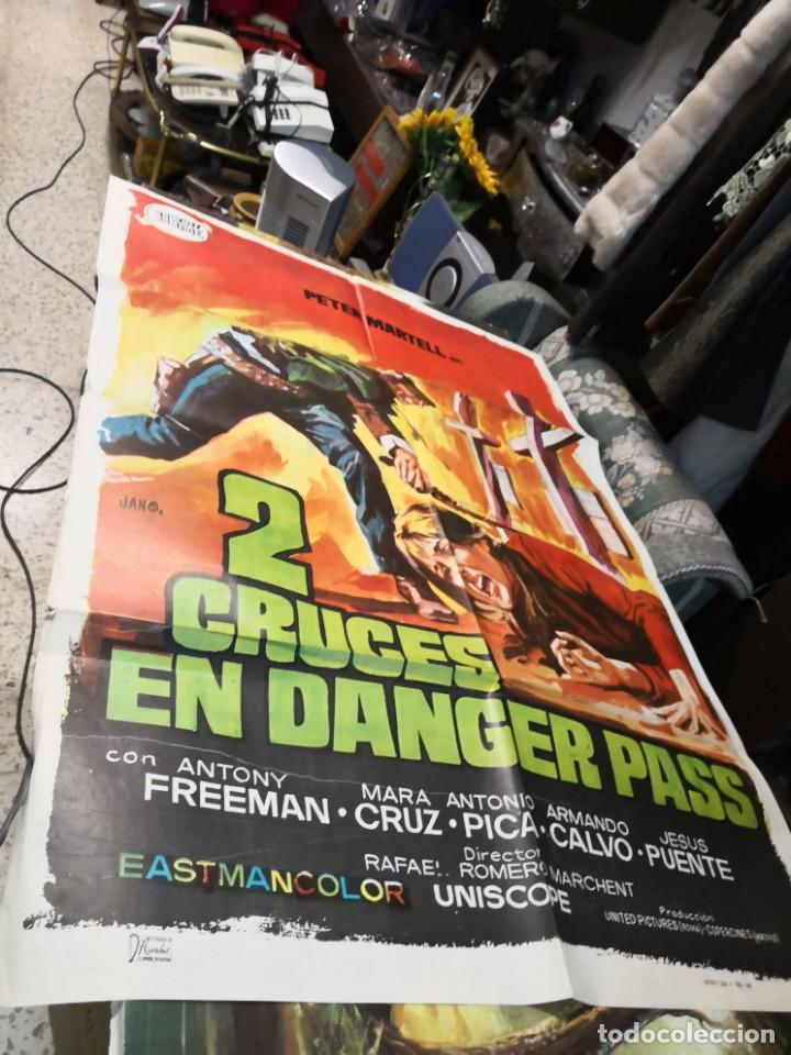 2 CRUCES EN DANGER PASS ROMERO MARCHENT PETER MARTELL SPAGHETTI POSTER ORIGINAL 70X100 (Cine - Posters y Carteles - Westerns)